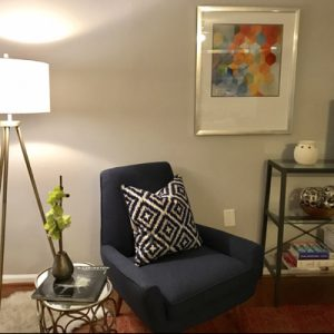 dark blue chair black and white pillow lamp
